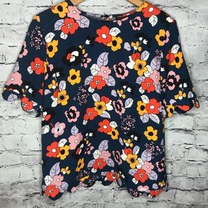 Victoria Beckham floral scalloped Detail top